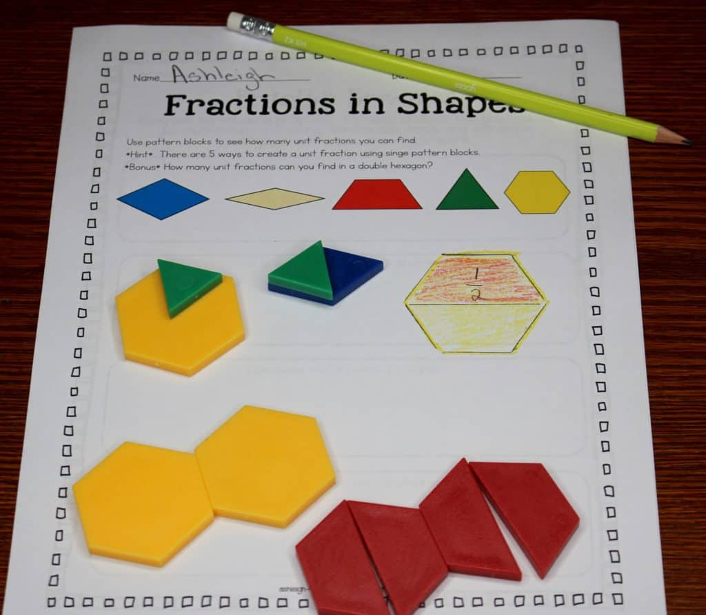 Pattern Block Fractions Cool Design