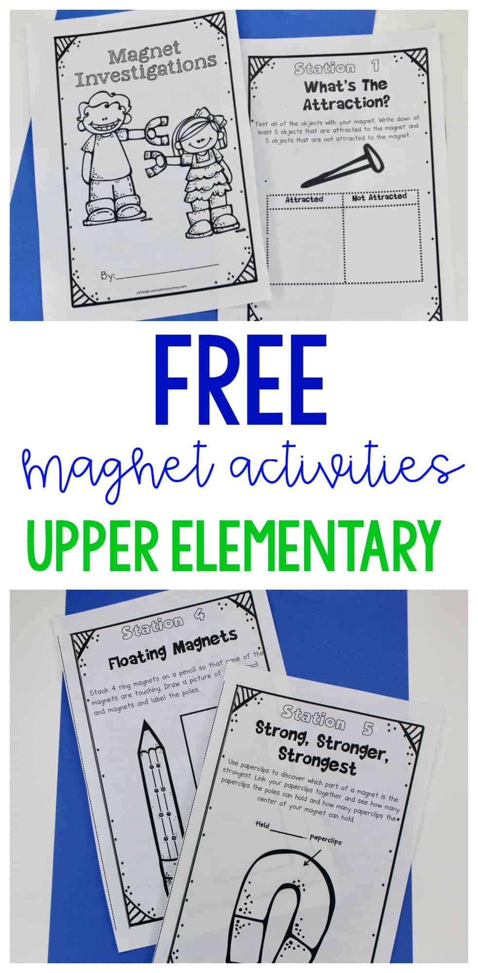 Get a FREE magnet booklet with hands-on activities for upper elementary science