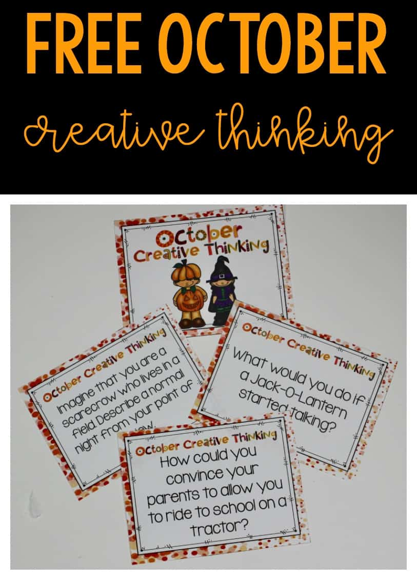 FREE October creative thinking task cards