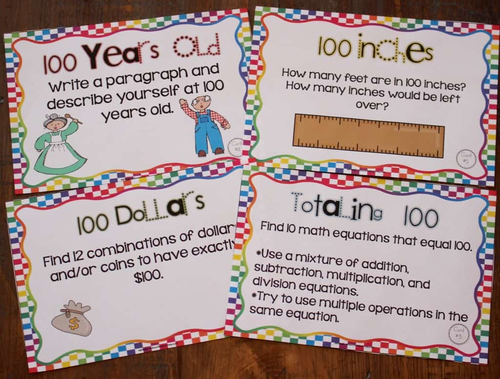 100th Day Task Cards