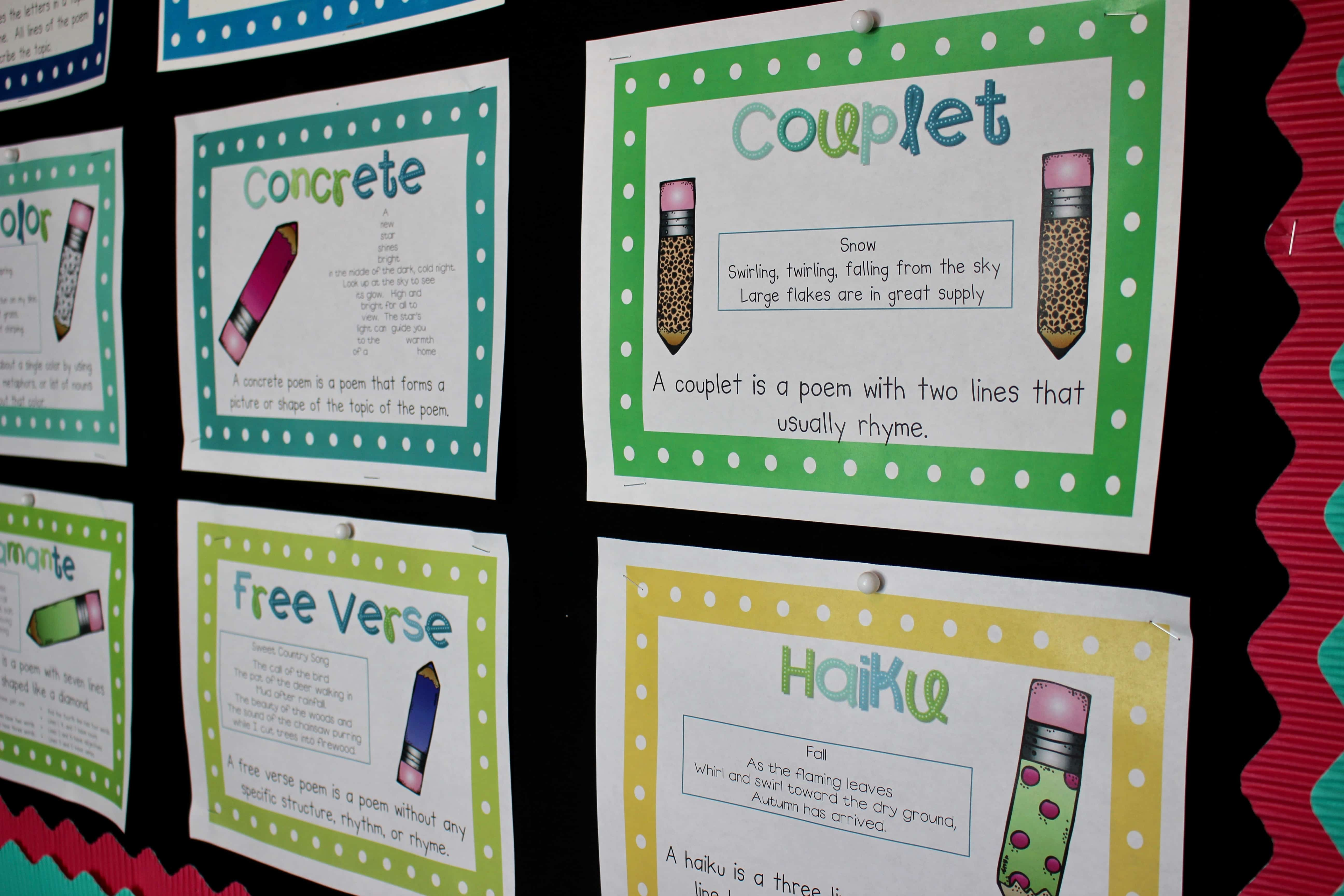 Colorful poem type sheets on classroom wall