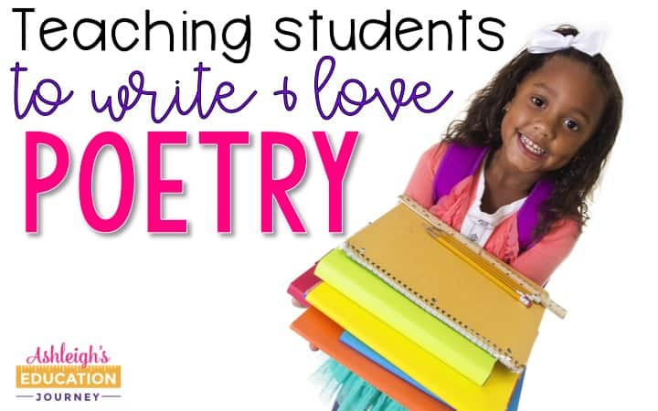Teaching students to write and love poetry header with girl holding a stack of colorful paper and folders