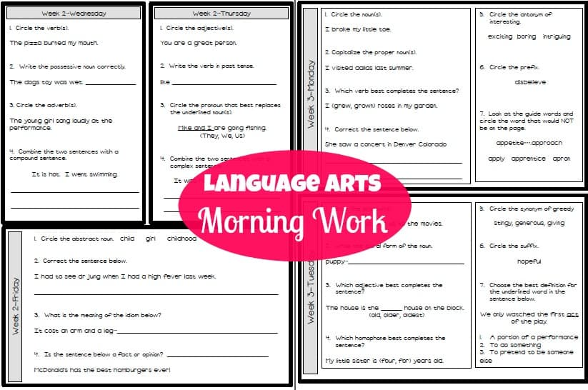 language arts morning work