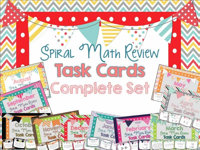 spiral math review task cards complete set
