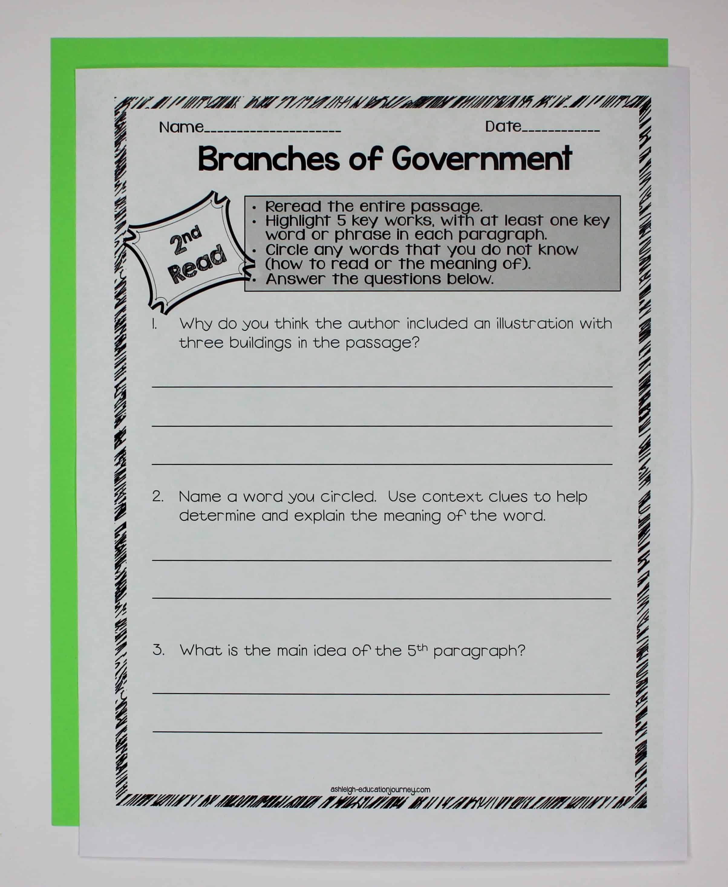 Government Close Reading & Interactive Notebook - Ashleigh's