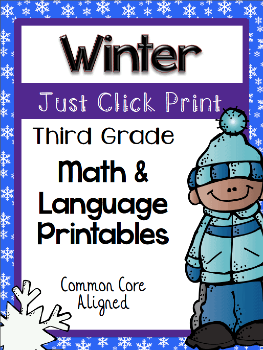 winter math and language printables
