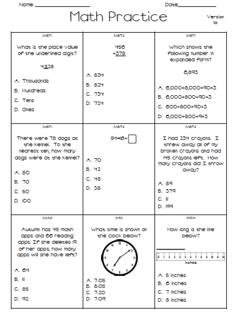Math Test For 1st Grade - Boxfirepress