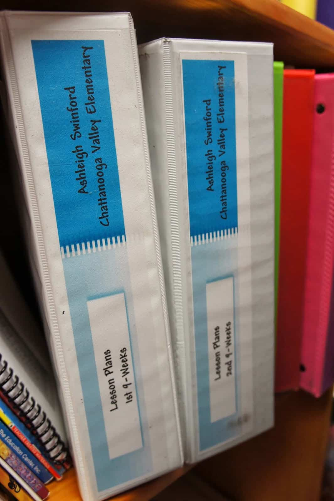 lesson plan binders bookshelf
