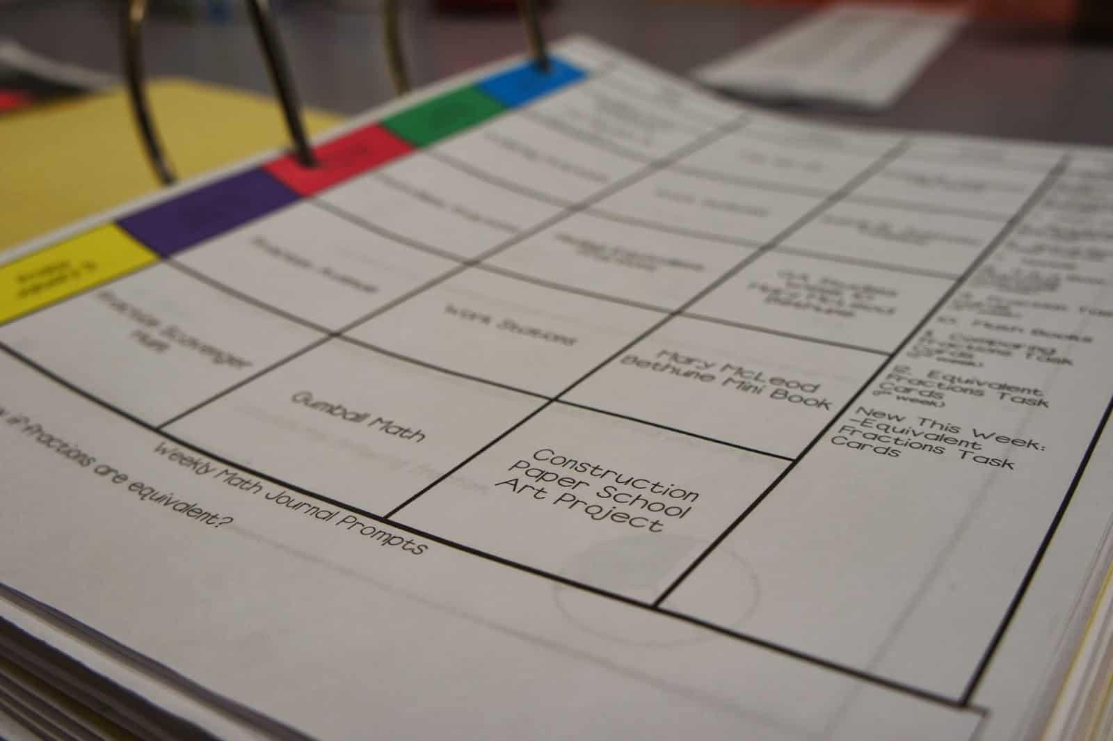 lesson plan binders