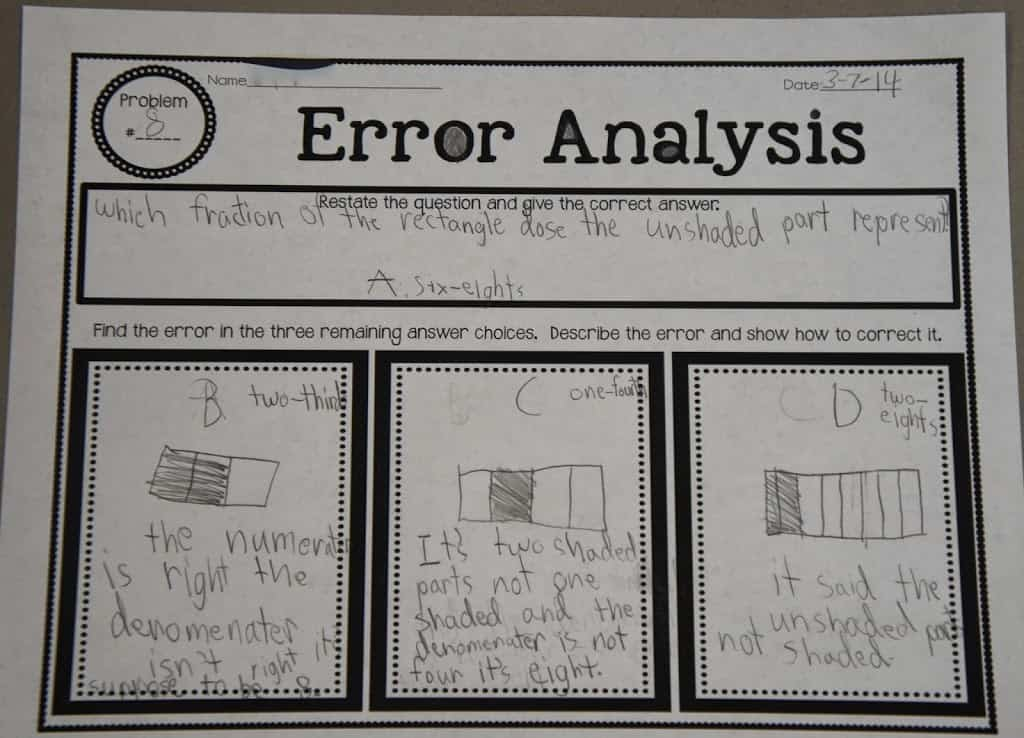 Error analysis is a really important skill for upper elementary students to master. This is when students look at a math problem that has been solved incorrectly, and they figure out where the error happened. They both explain why the error might have been made and rework the problem to get the correct answer. This is so important for test prep before state standardized testing! Click through to read my teaching tips.