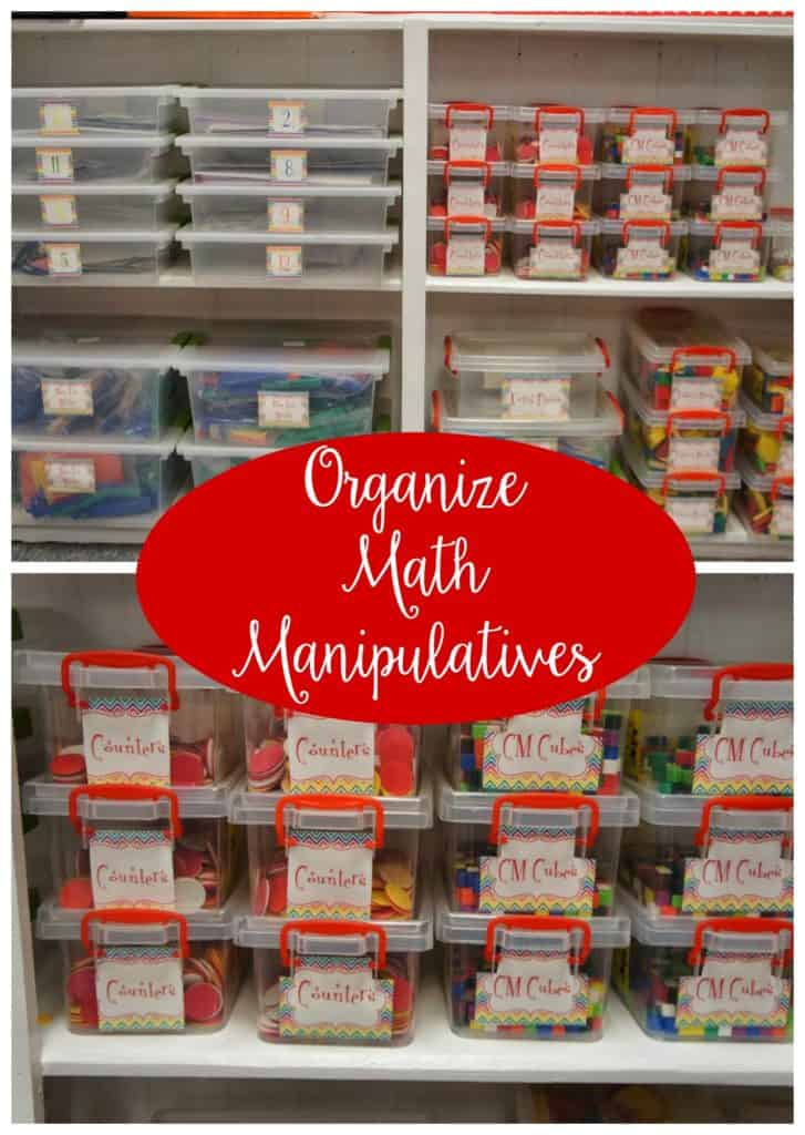 Organizing math manipulatives is a lot of work upfront, but you'll thank yourself later! In this blog post, I'm sharing my best tips for keeping math manipulatives organized and easy to find -- for both you and your upper elementary students!  Hint: Plastic storage containers play a big role! Click through to get my organization tips for math teachers.