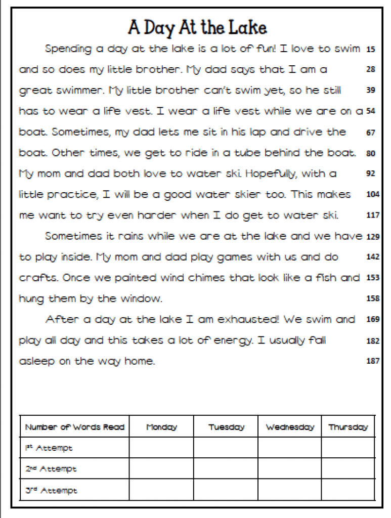 Free First Grade Reading Fluency Passages - reading a z ...