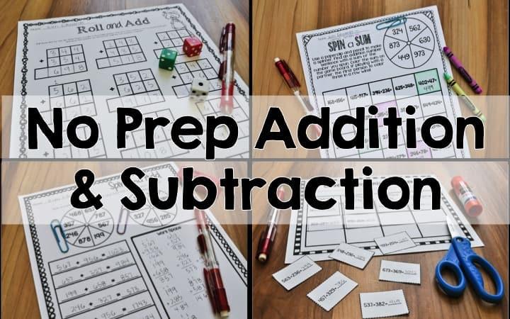 no prep addition subtraction