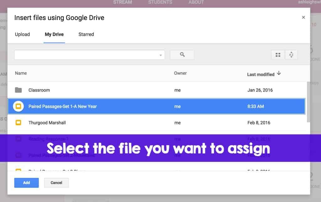 insert files google classroom