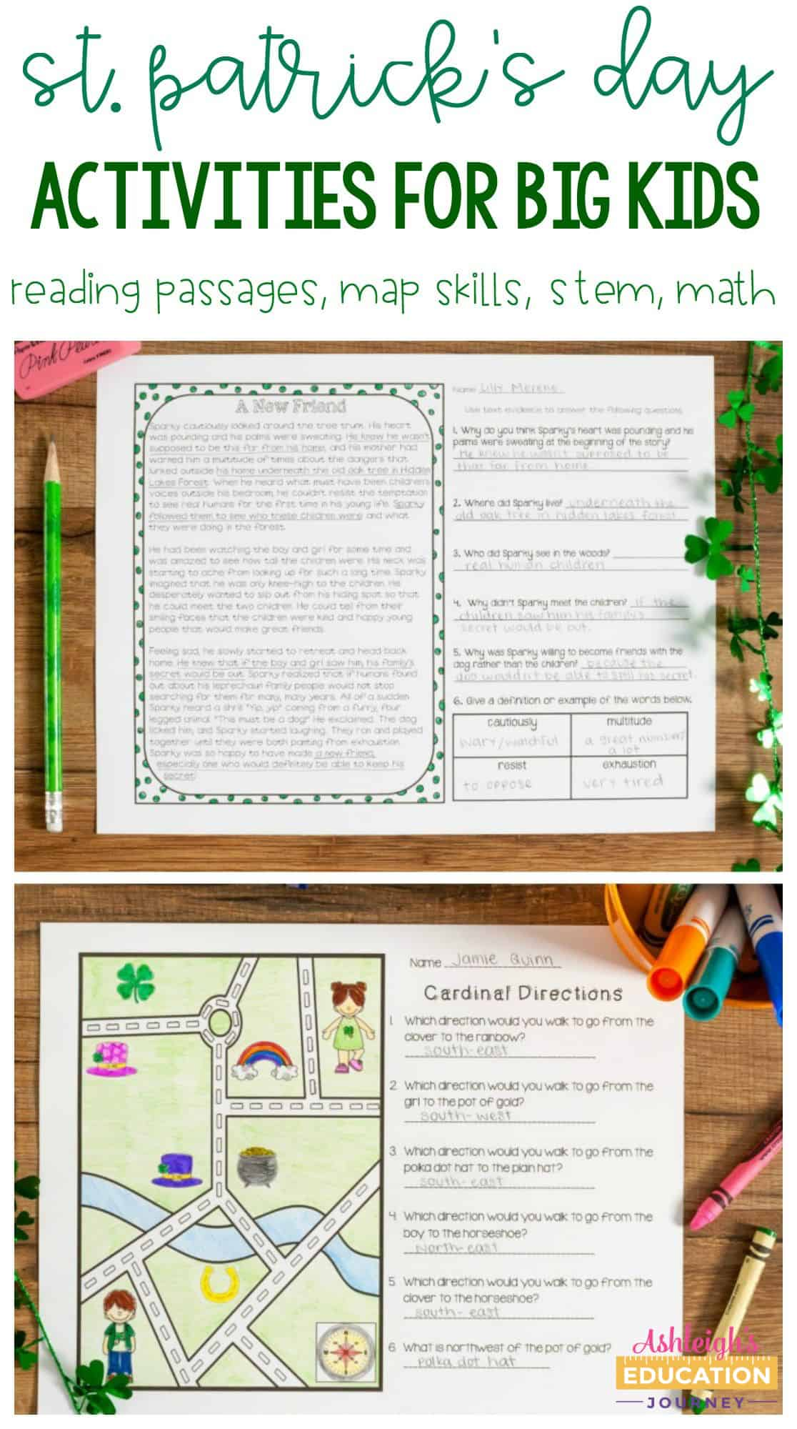 St. Patrick's Day activities for big kids text with example activity sheets.