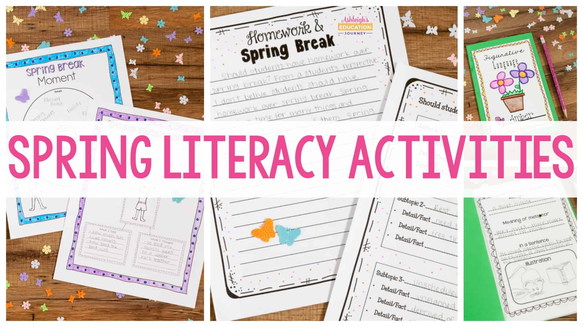 Spring Literacy Activities header with worksheets in background