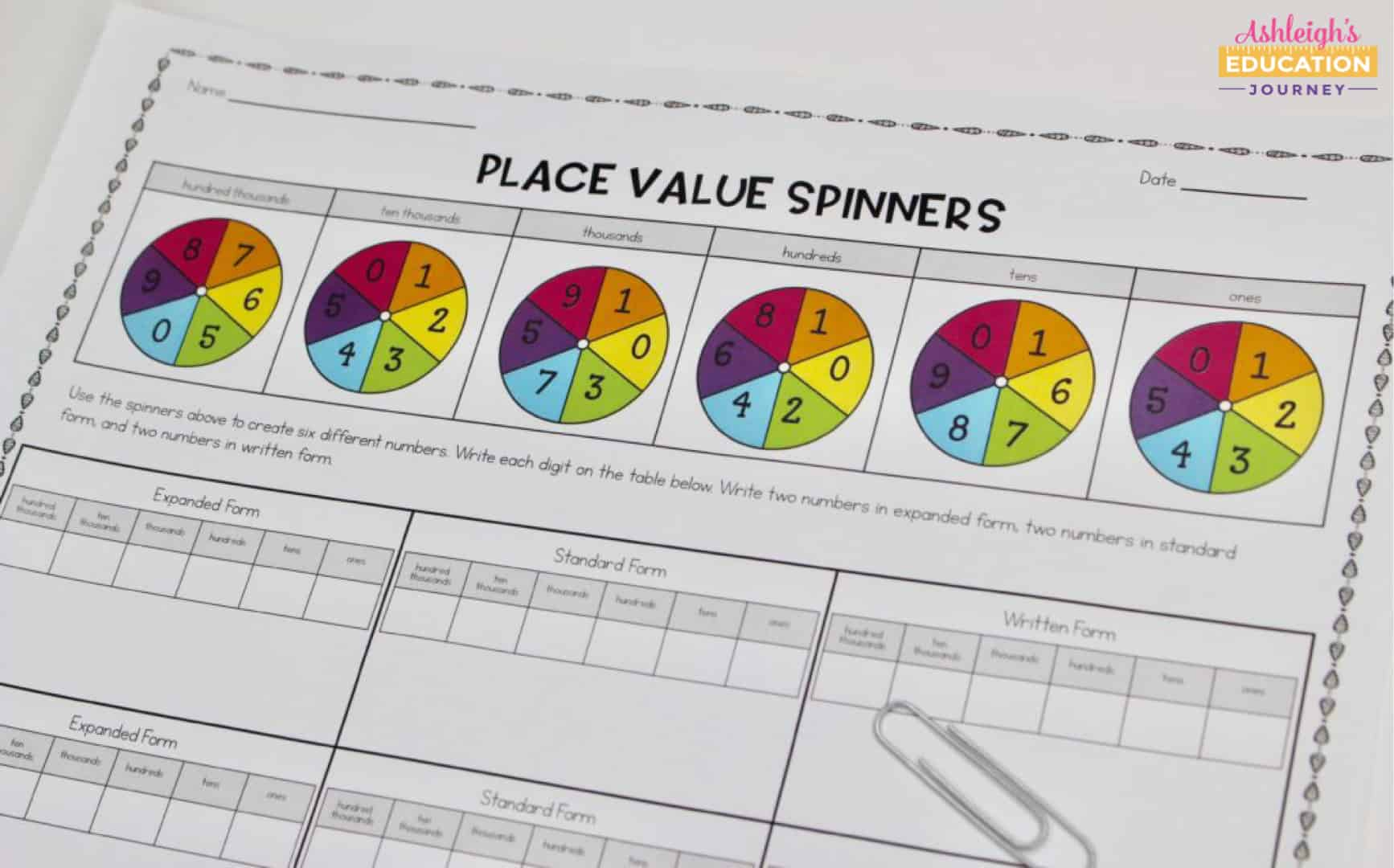 Place value spinners worksheet with colorful wheels representing each value