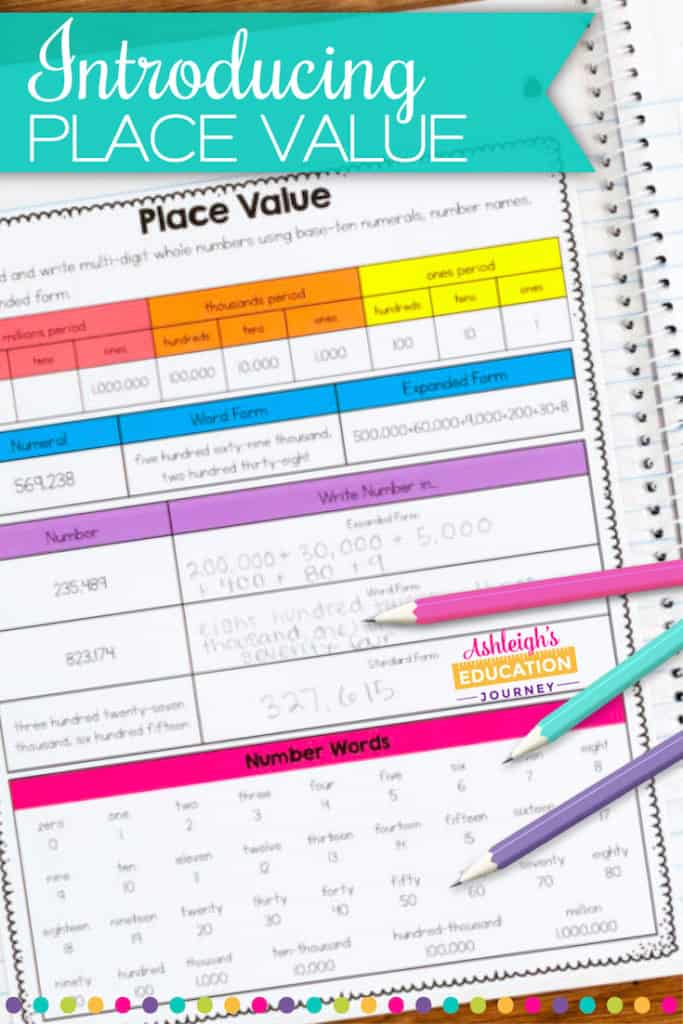 Introducing Place Value header with colorful worksheet and pencils