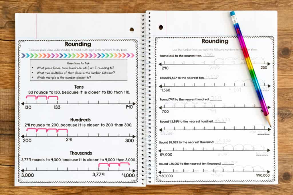 Multiple worksheets to teach rounding