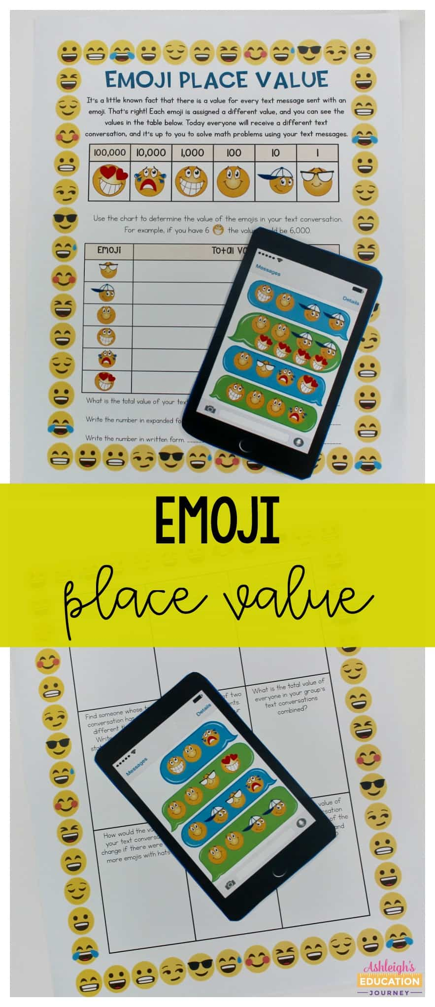 Emoji place value worksheets with paper phones