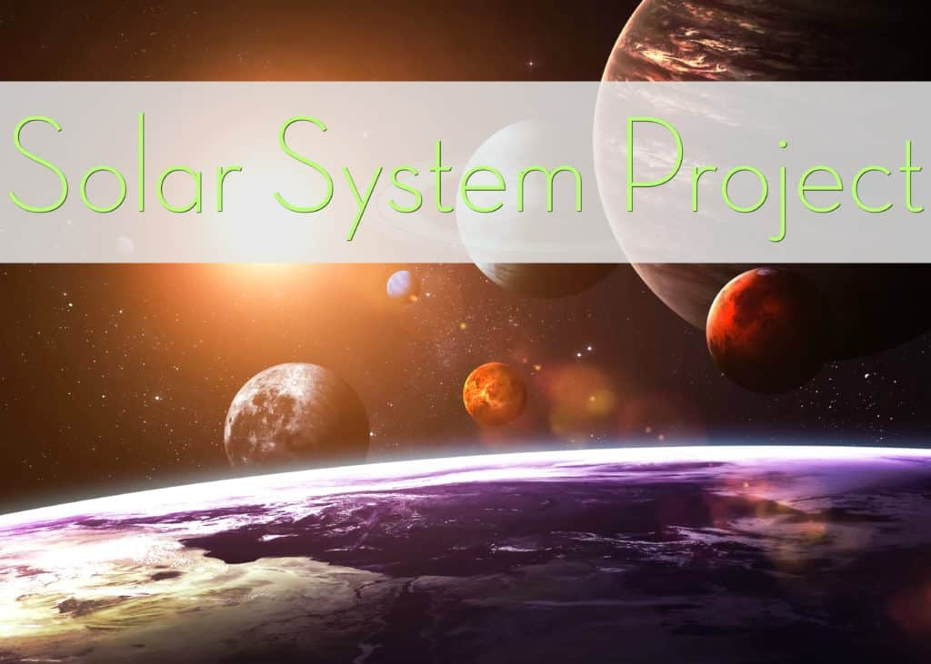 Classroom Solar System Project text with 3D rendered planet backdrop.