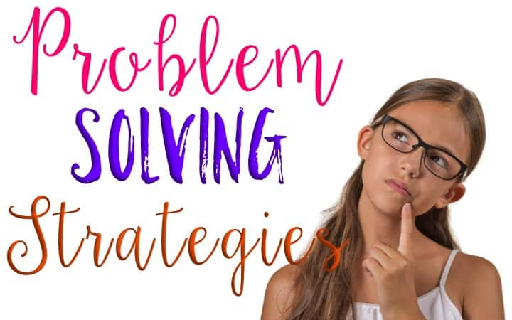 Problem Solving Strategies graphic with a girl in glasses thinking hard.