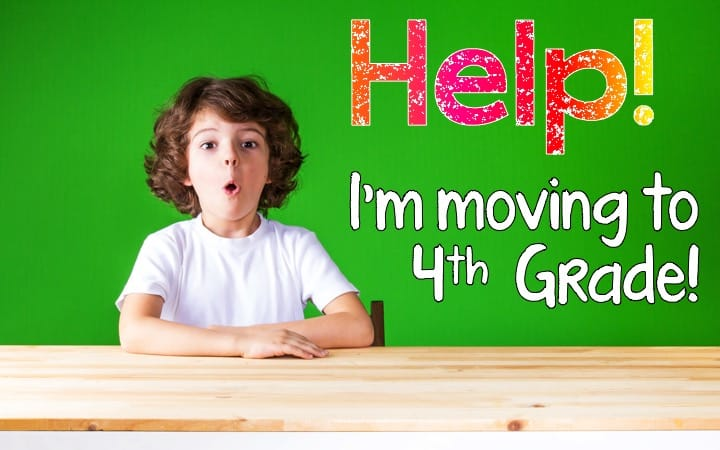 Help! I'm moving to 4th Grade! graphic with a surprised boy to illustrate the challenge for teachers new to teaching 4th Grade.
