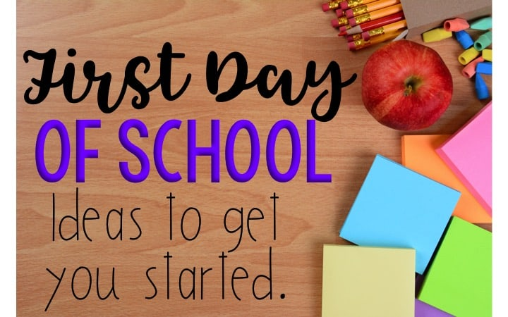 First Day of School: Ideas to Get You Started text with an apple, pencils, and sticky notes on a wood desk.