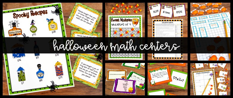 Halloween Math Centers graphic with Halloween-themed activity sheets and candy corn in the background.