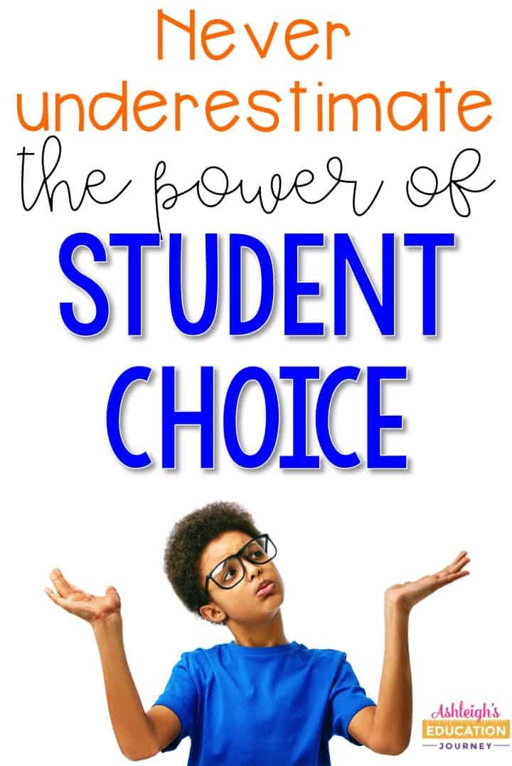 Never underestimate the power of Student Choice graphic with a glasses-wearing student shrugging.