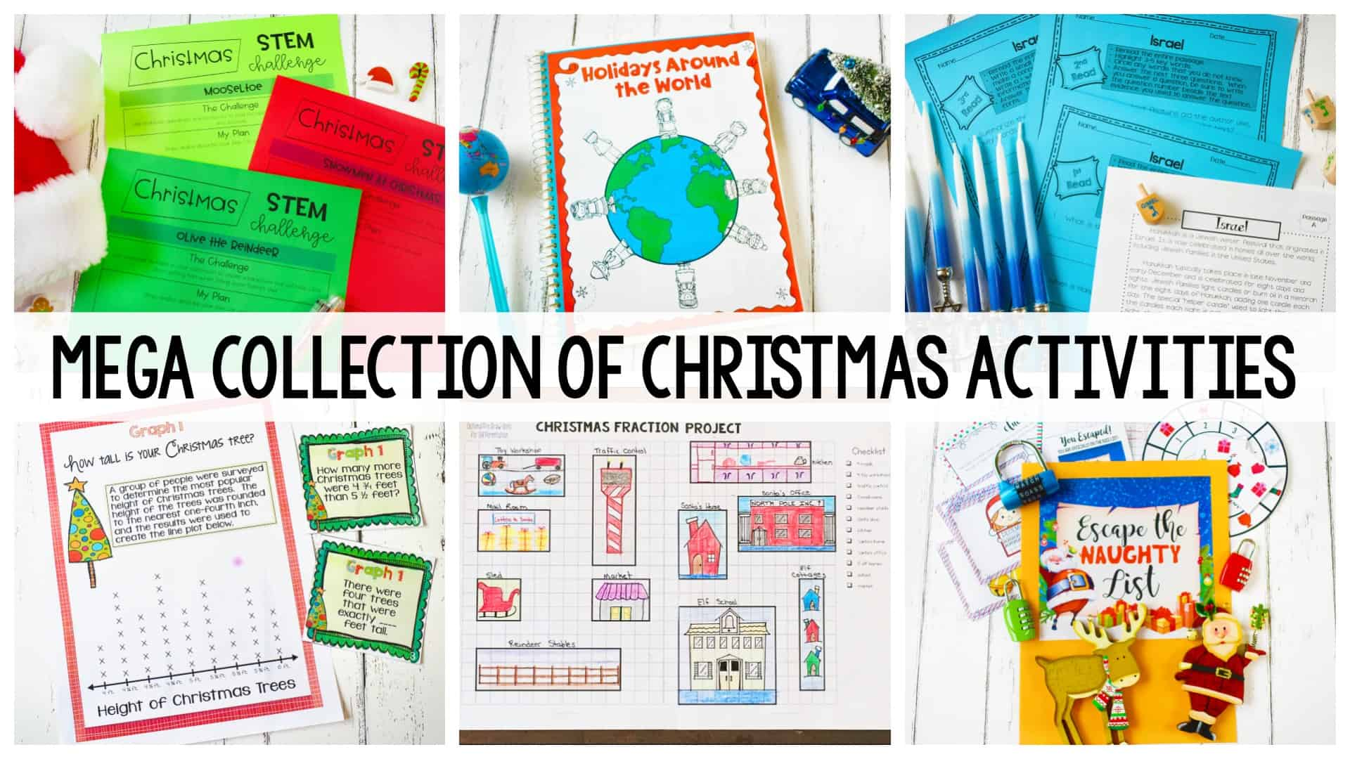 Mega Collection of Christmas Activities header with several colorful activity sheets in background
