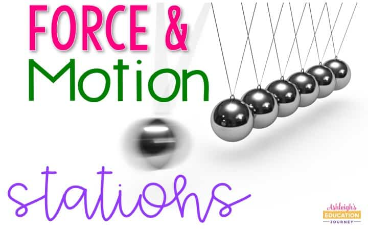 Force and Motion Stations graphic with a Newton's Cradle in motion.