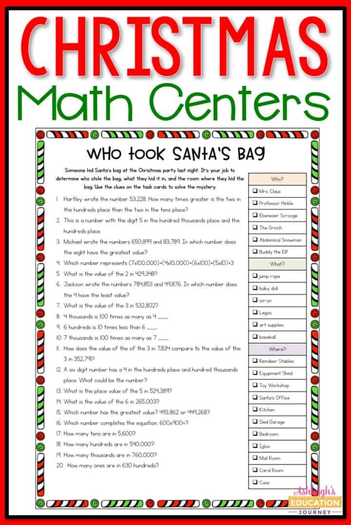 4th grade Christmas math centers
