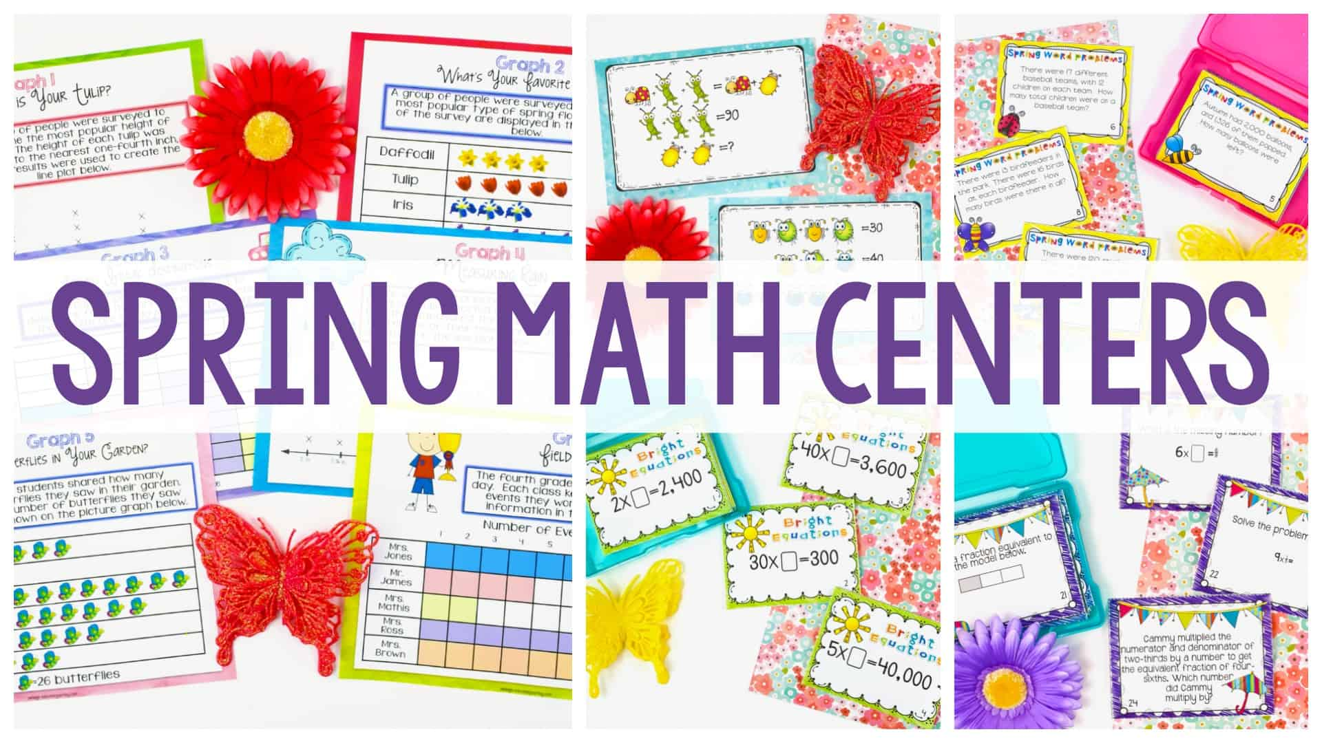 Spring Math Centers graphic with colorful spring-themed worksheets and decorations in the background.