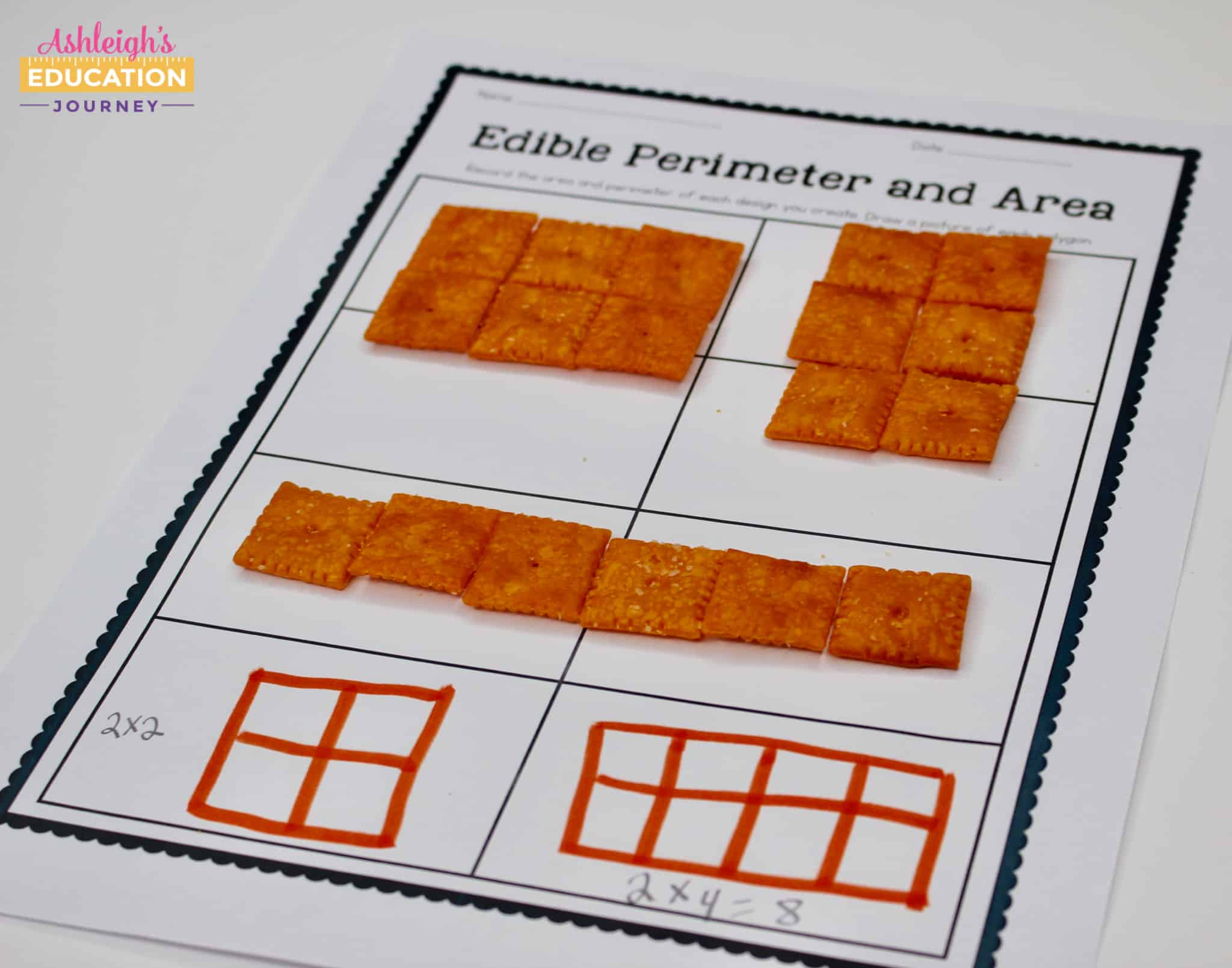 Edible Perimiter and Area worksheet with Cheez-It crackers, used to help with teaching area and perimeter.