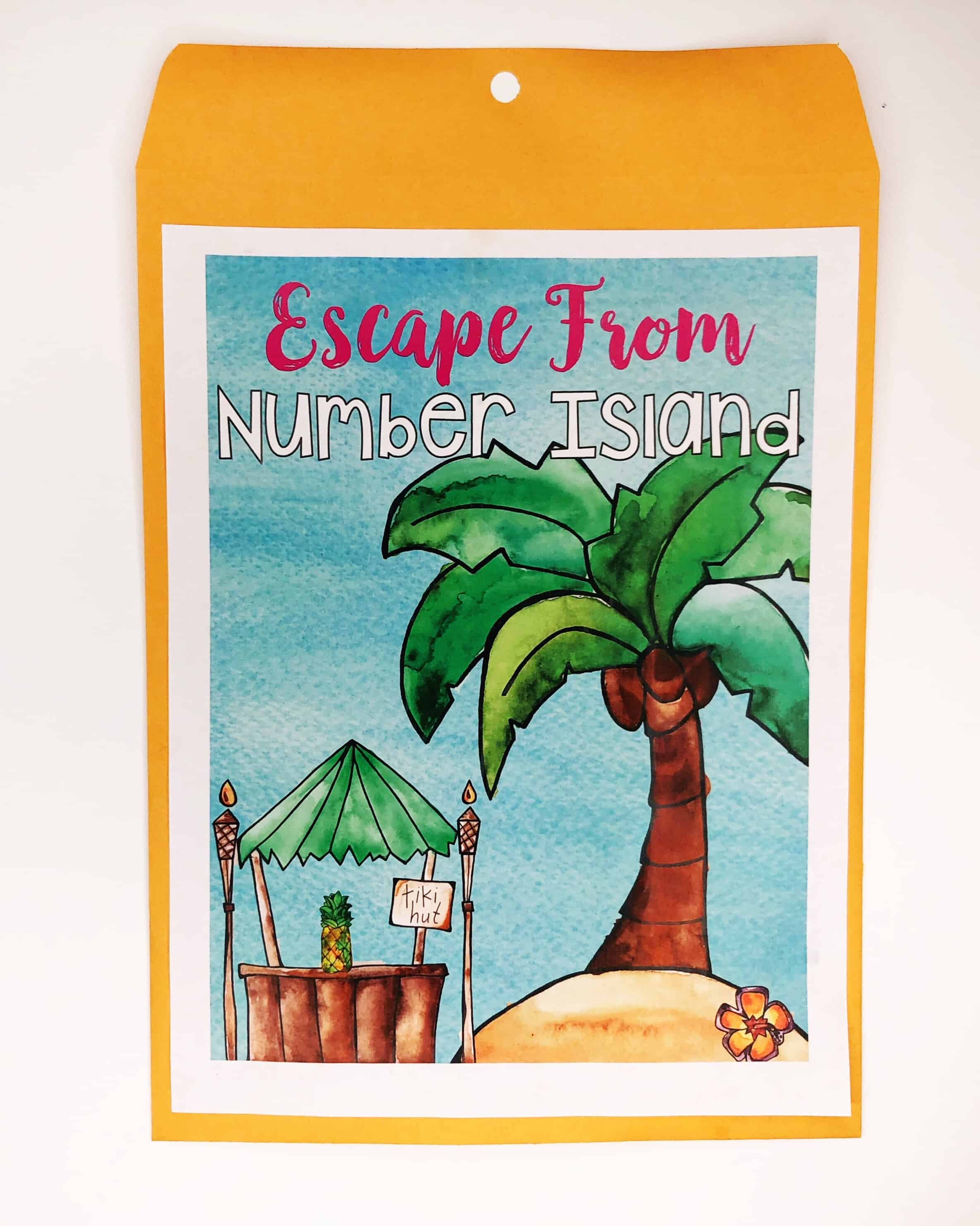 Escape classrooms envelope titled Escape From Number Island with palm tree and tiki hut illustration