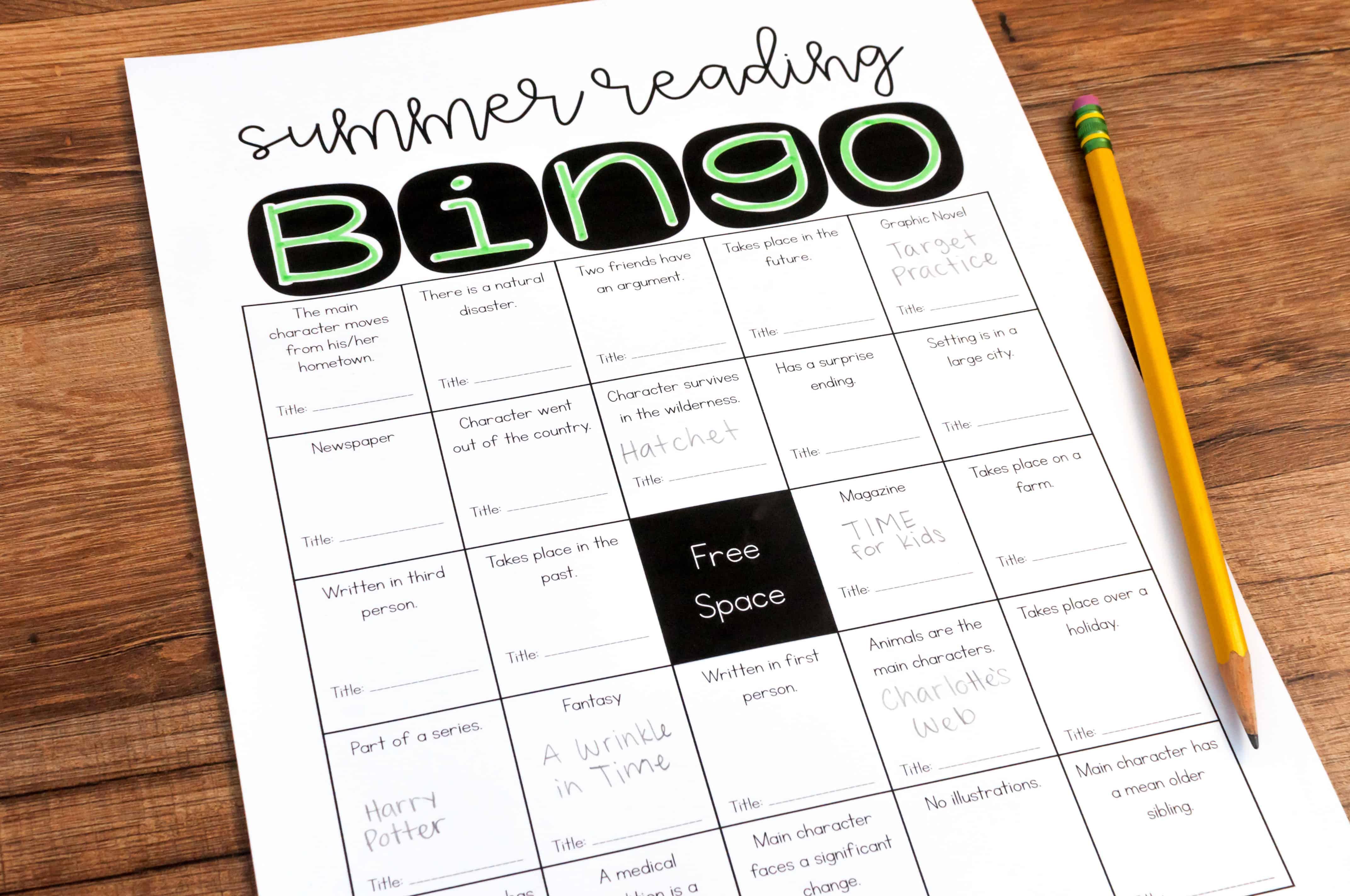 Free summer reading bingo activity