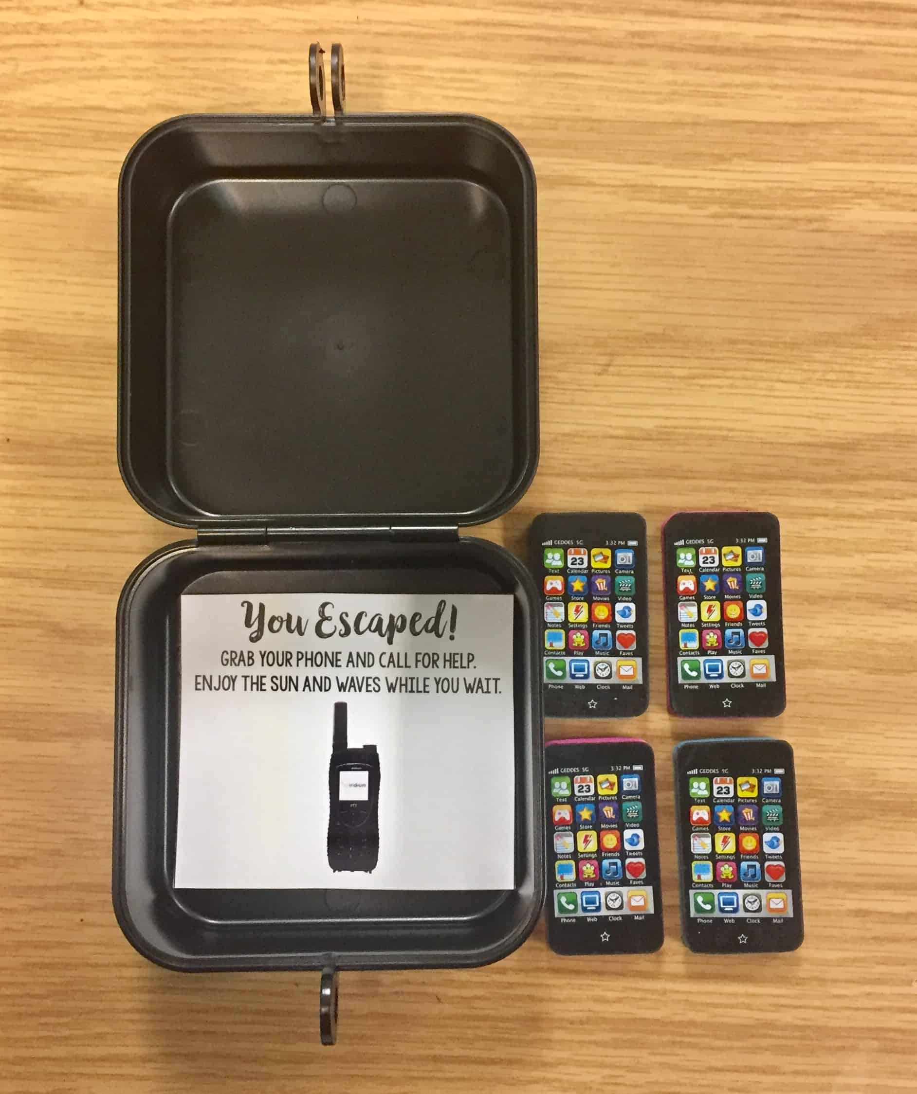 Escape Room container with toy mobile phones on a desk