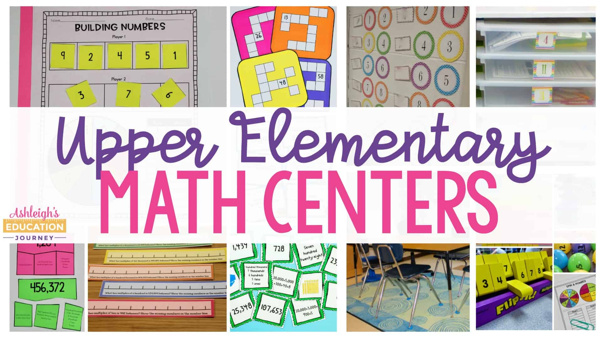 Upper Elementary Math Centers graphic with several colorful math activities and worksheets.