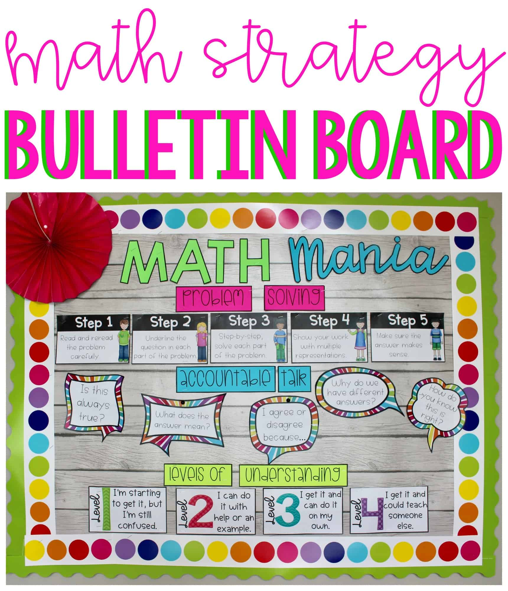 Math Strategy Bulletin Board back to school resources