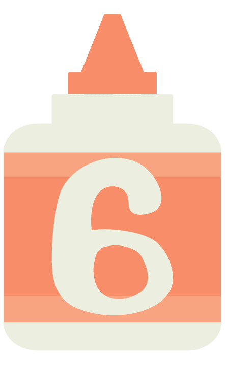 Back to school resources number 6 graphic with a white digit on an illustrated glue bottle
