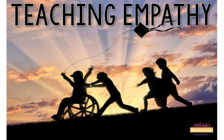 Teaching Empathy graphic with silhouettes of children playing on a hill at sunset.