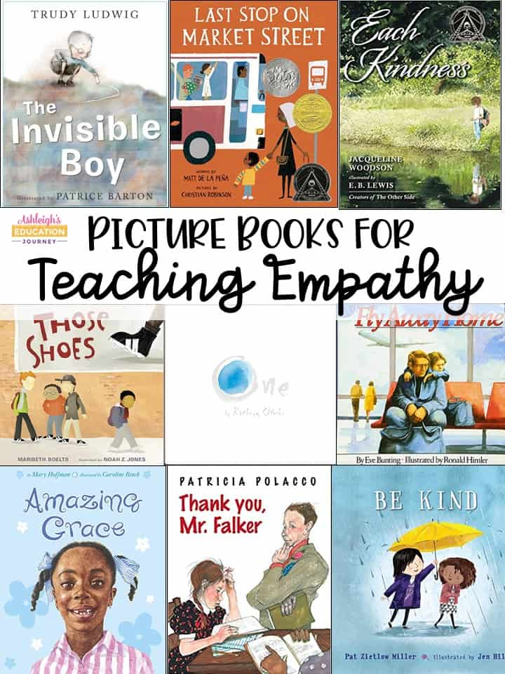 Picture Books for Teaching Empathy graphic with several book covers arranged in a collage.