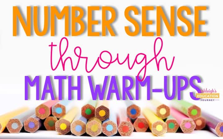 Teaching Number Sense Through Math Warm-Ups image with a row of colored pencils along the bottom.