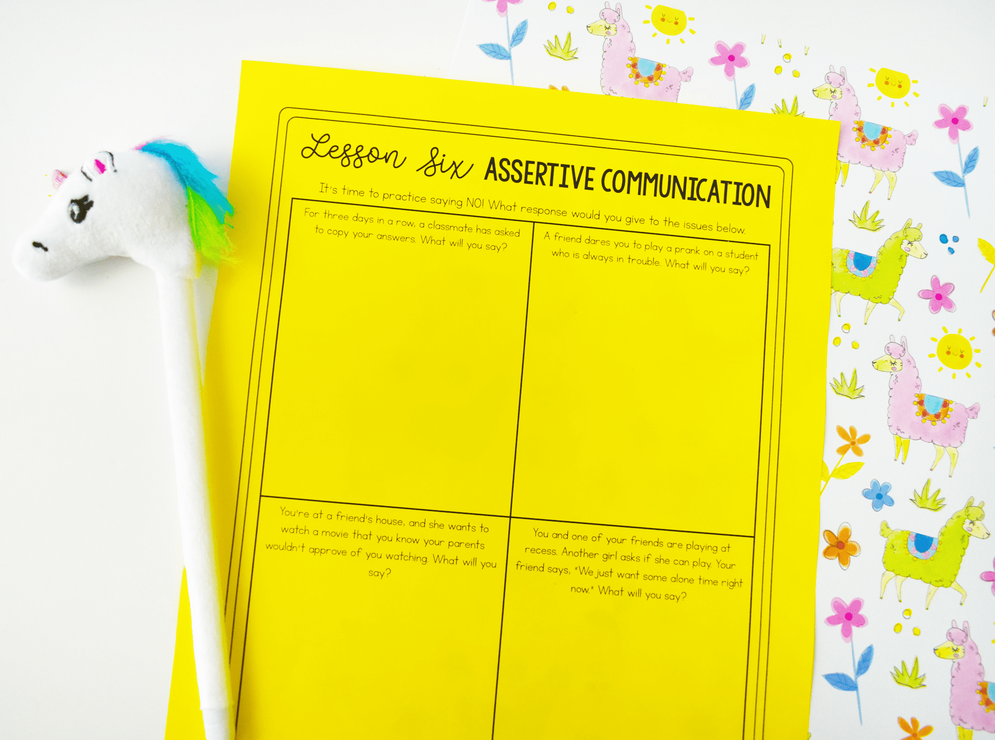 Assertive communication worksheet with a colorful pony pen to help curb relational aggression