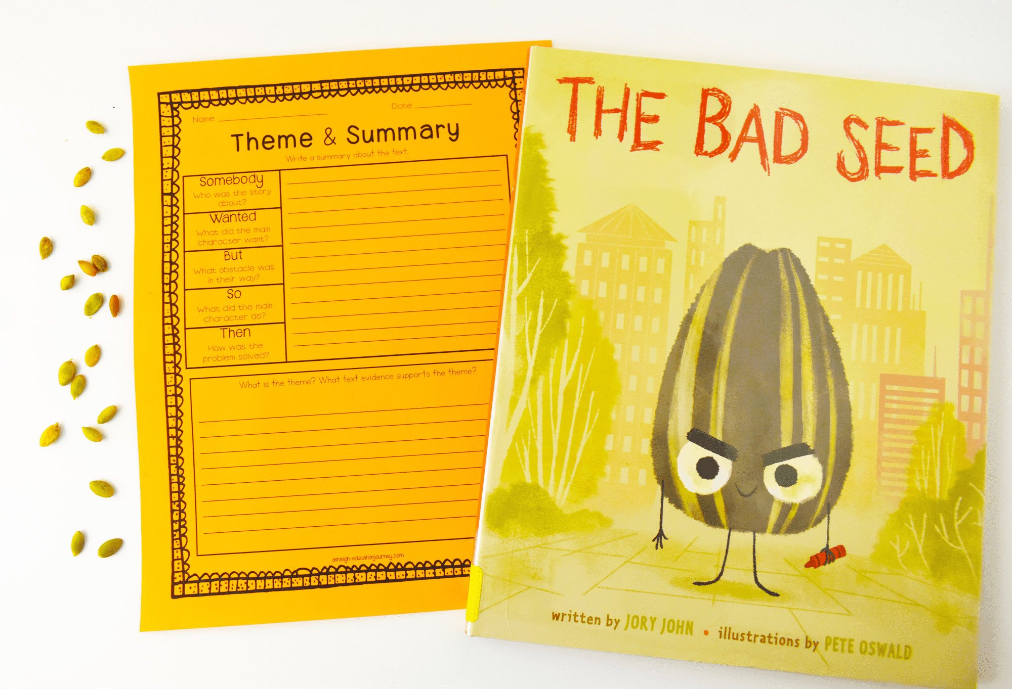 Theme & Summary Worksheet for teaching theme and The Bad Seed book cover.
