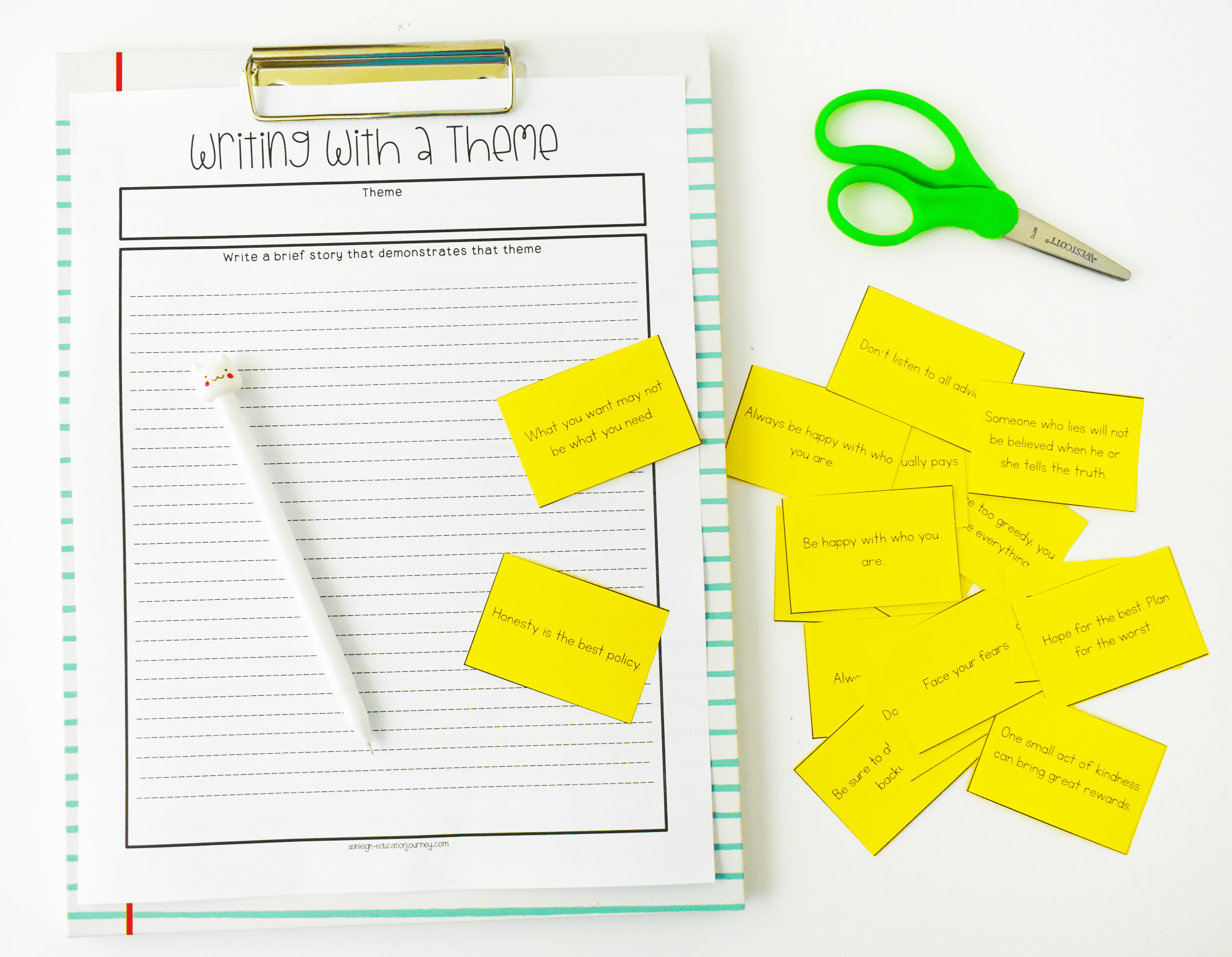 Writing with a Theme Worksheet for teaching theme.