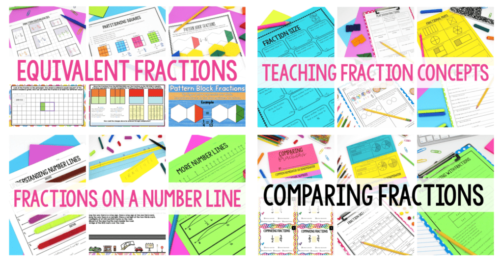 A collage of several colorful worksheets with the goal of teaching fractions.