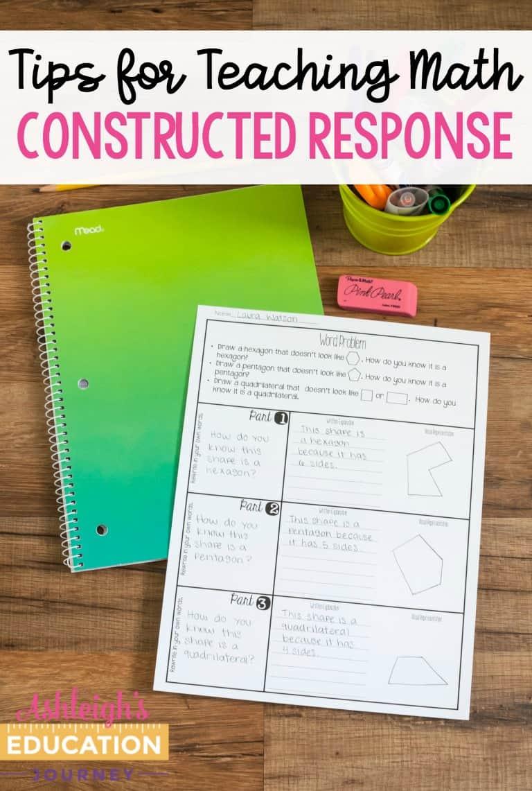 Tips for teaching math - constructed response test prep worksheet