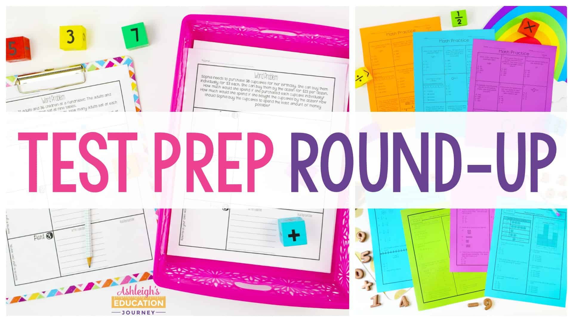 Test Prep Round-Up header with colorful test prep materials in the background